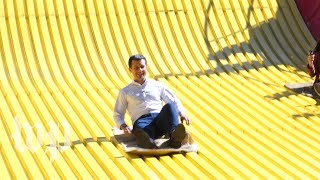 Watch Pete Buttigieg ride giant slide at the Iowa State Fair
