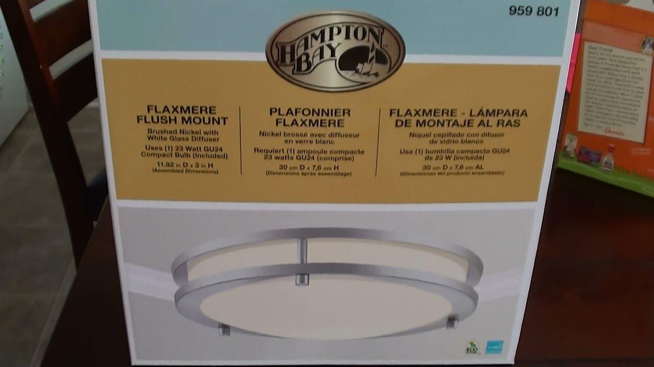 Hampton Bay Flaxmere Flush Mount Brushed Nickel Lamp Installation