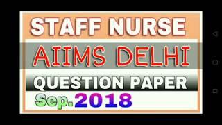 staff nurse aiims delhi question paper 2018