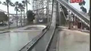 Water flum ride owns a little boy