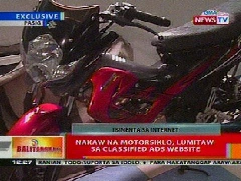 BT: Nakaw na motorsiklo sa Pasig, lumitaw sa classified ads website