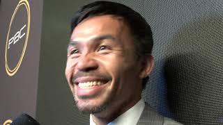 Manny Pacquiao What He Saw In Thurman Eyes In Faceoff - gives elie seckbach shoutout