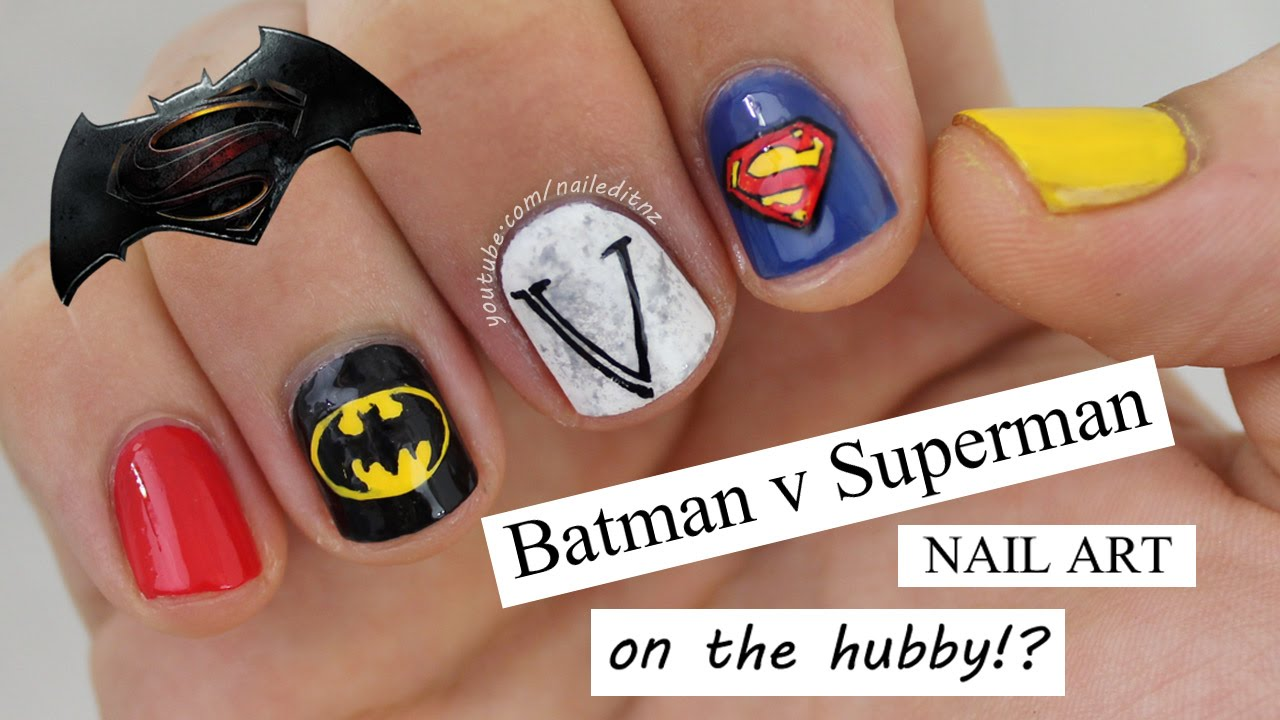 - BATMAN V SUPERMAN Nail Art On The Hubby?! - YouTube