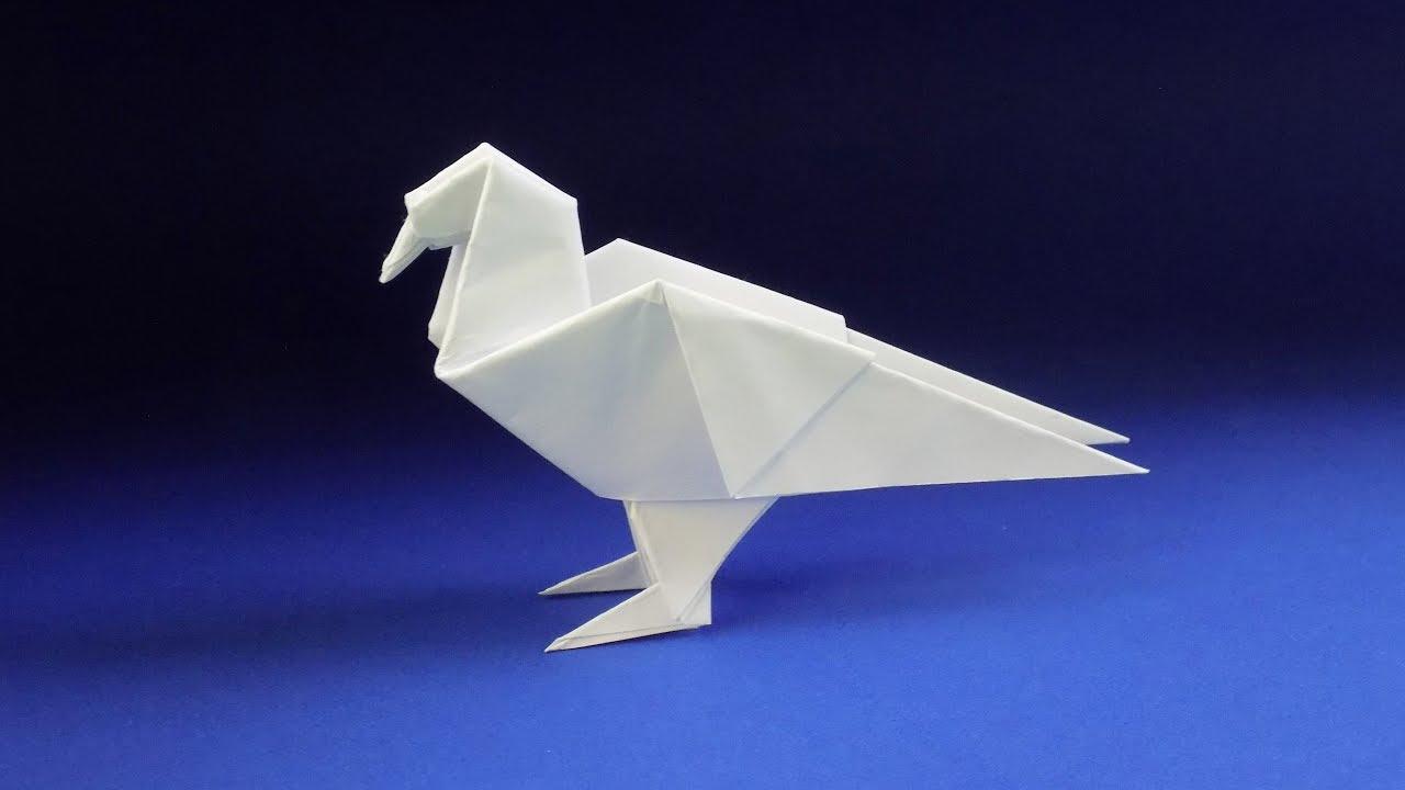 Оригами голубь из бумаги 🐦 Оригами ПТИЦА из бумаги - YouTube