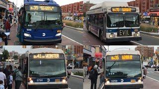 MTA NYC Bus New Flyer XN60/C40LF #1049/328/NovaBus LFSA #5790/5259 Bx35/Bx41