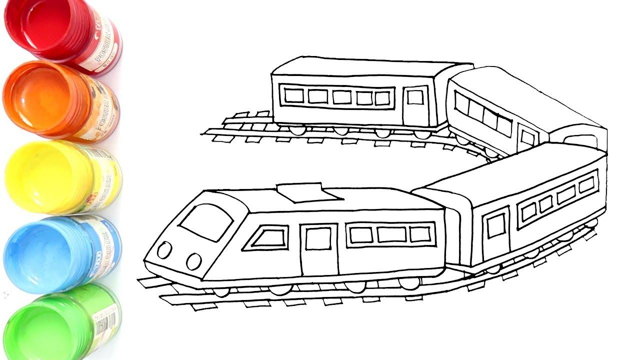 Gambar Kereta Api Untuk Mewarnai Cara Menggambar Kereta Api Mudah Youtube
