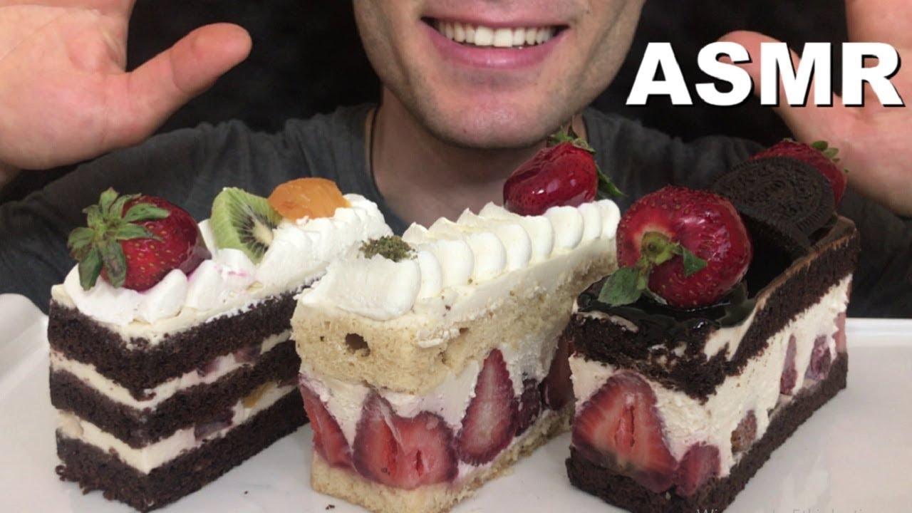 ASMR Mini Strawberry Cakes 식빵 딸기 생크림 케이크 리얼 사운드 먹방 【MUKBANG】