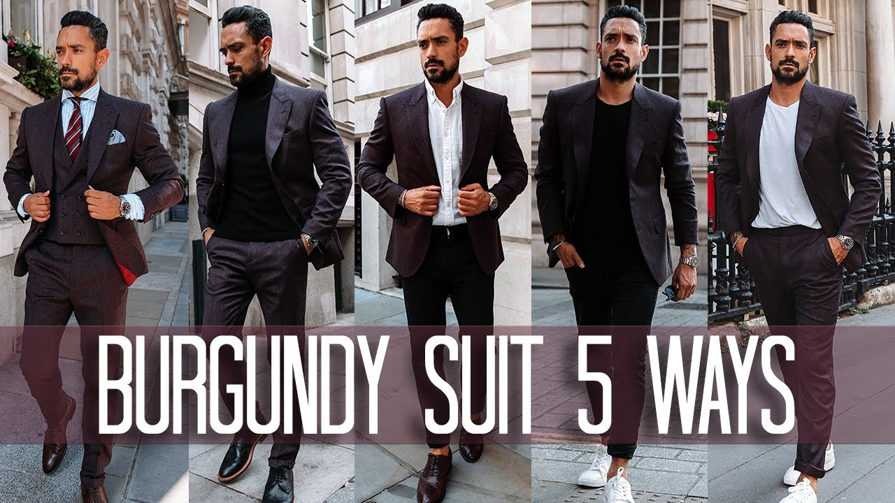 How to Wear a Burgundy Suit 5 ways | Men's Style & Fashion Lookbook 3