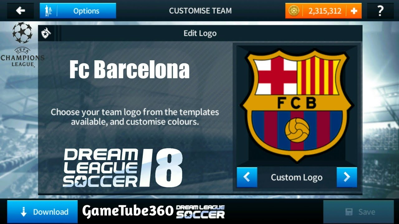 how to import fc barcelona logo kits uefa champions league in