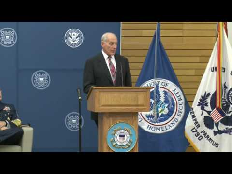 DHS Secretary John F. Kelly visits Coast Guard Headquarters for Downhill