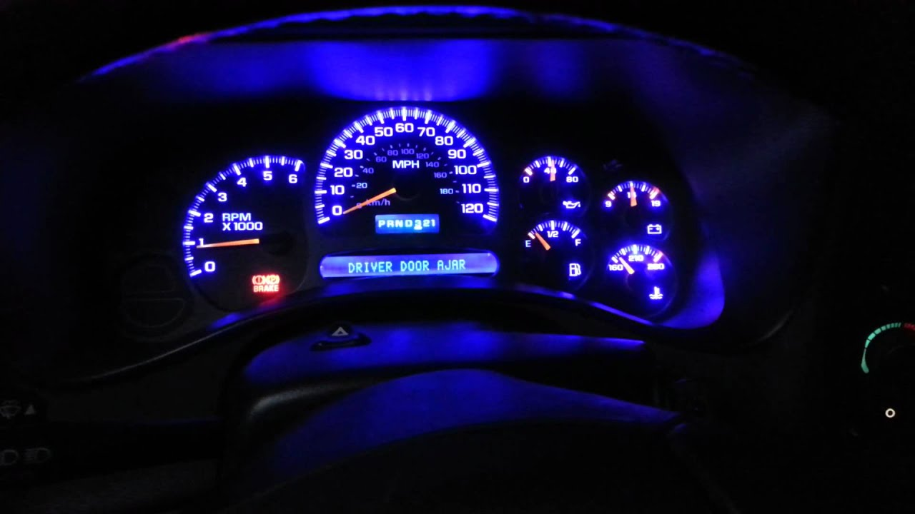 2004 Chevy Z71 instrument cluster blue led - YouTube