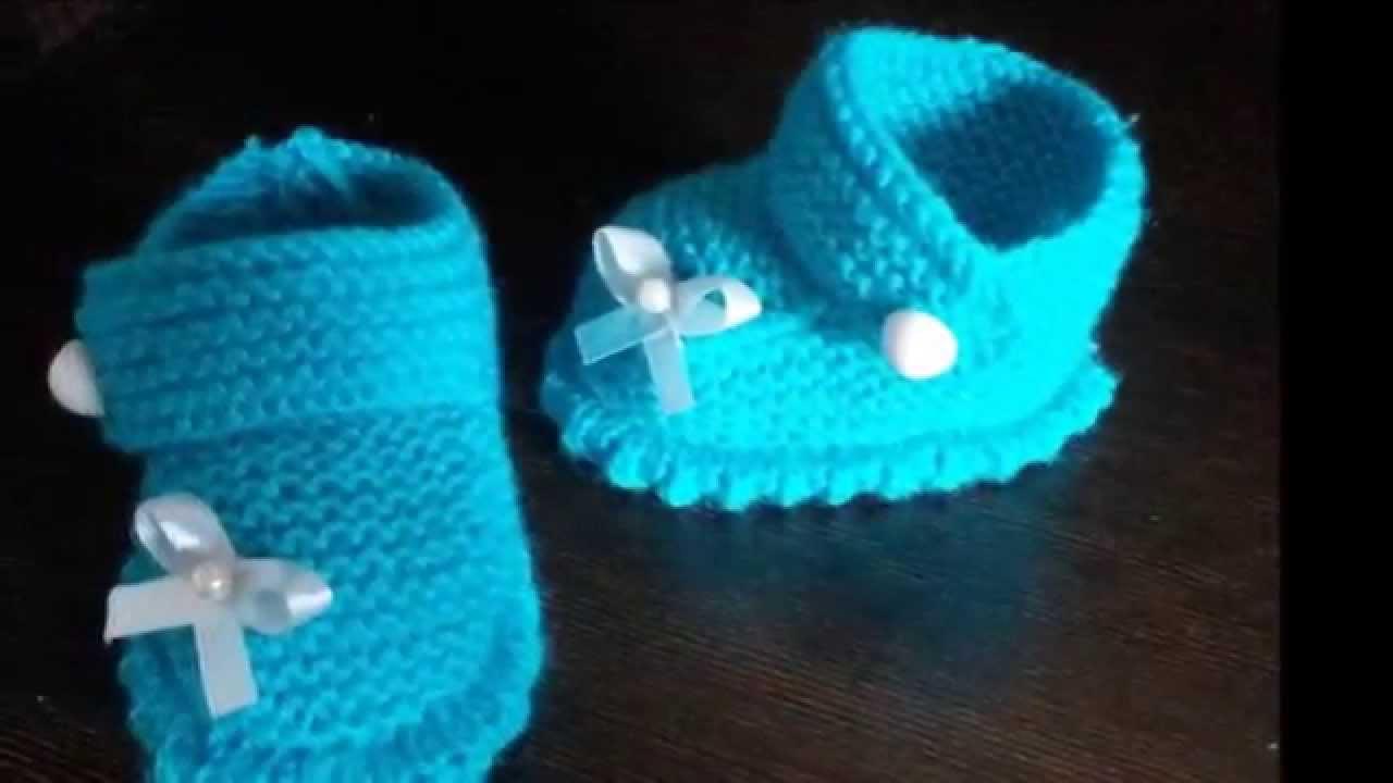 Faciles zapatitos para bebe a crochet y dos agujas - YouTube