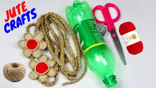 How to make a beautiful craft with plastic bottle and jute rope | Home decorating ideas handmade