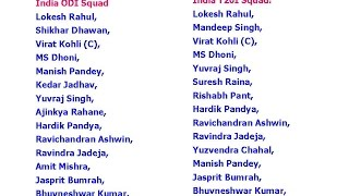 India & England Team Squads for ODI & T20 Series 2017