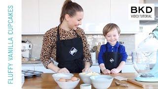 How To Make Yummy Fluffy Vanilla Cupcakes - Kids Baking  BKD