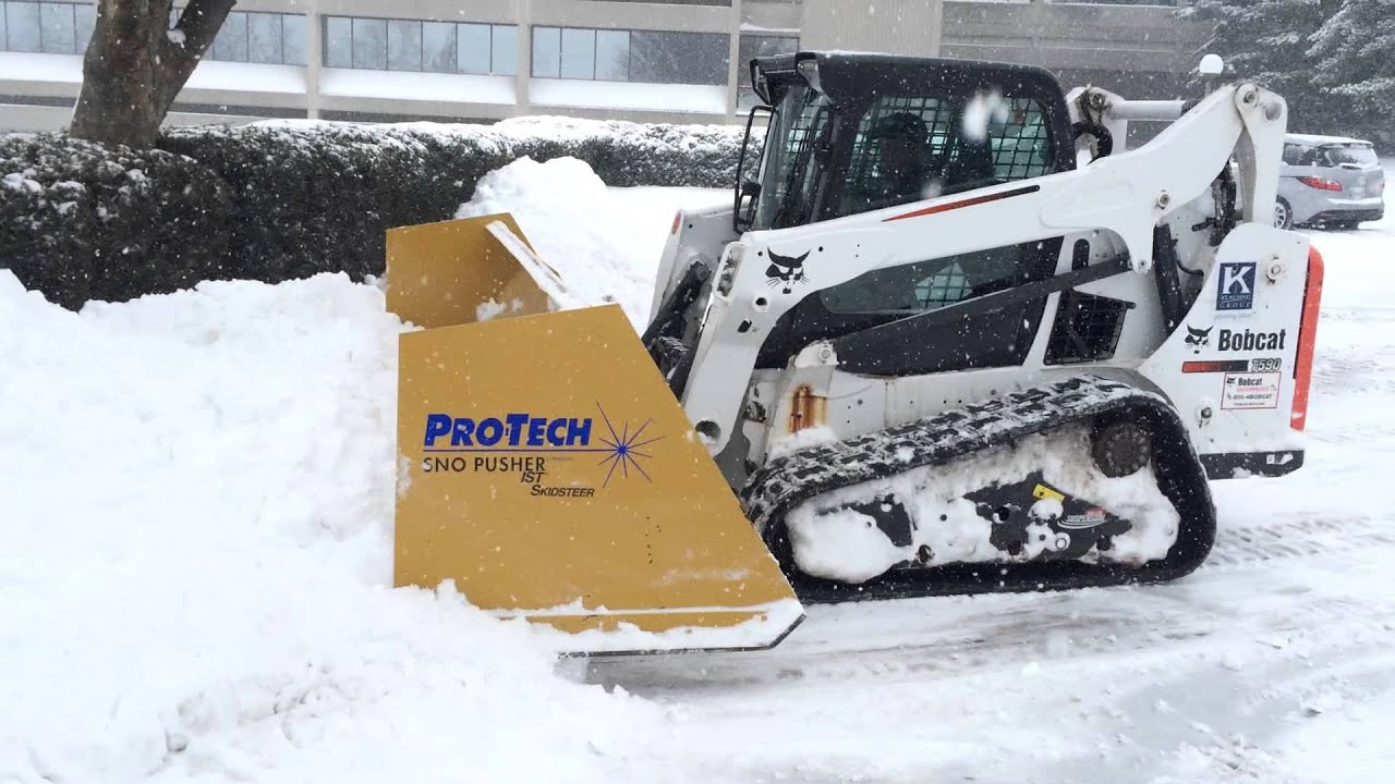 skid steer with snow pusher 1 - 14 u0026quot  of snow