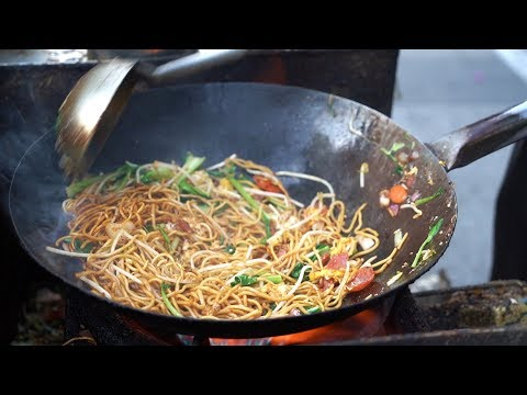 Chinese Street Food - Best Shanghai Fried Noodles Chow mein 炒麵 Awesome Wok Technique China#12