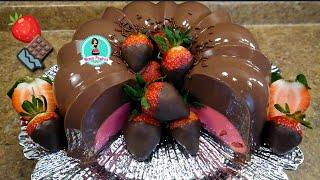 GELATINA FRESAS CON CHOCOLATE 🍓🍫 / Día de Amor y Amistad / San Valentín ♥️
