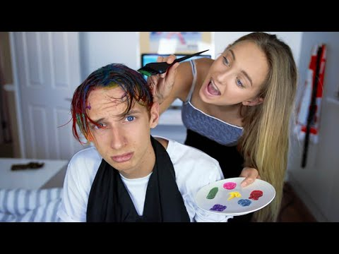 MY 13 YEAR OLD SISTER DYES MY HAIR RAINBOW (GONE WRONG)