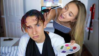 MY 13 YEAR OLD SISTER DYES MY HAIR RAINBOW (GONE WRONG) GeorgeMasonTV
