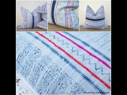 Farmhouse interior decorative / Retro fabric indigo hemp pillow cover