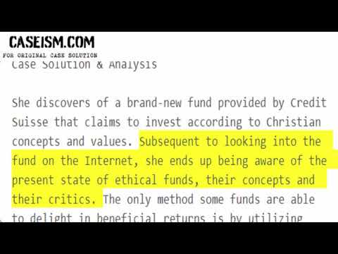 The Credit Suisse Christian Values Fund  Case Solution & Analysis Caseism.com