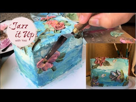 How to paint with buttercream // Buttercream Painting Tutorial // Painted Buttercream Flower Cakepa