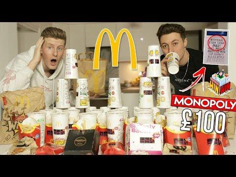 INSANE £100,000 MCDONALDS MONOPOLY CHALLENGE!! (200+ STICKERS)