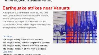 Magnitude 6.6 Earthquake near Vanuatu