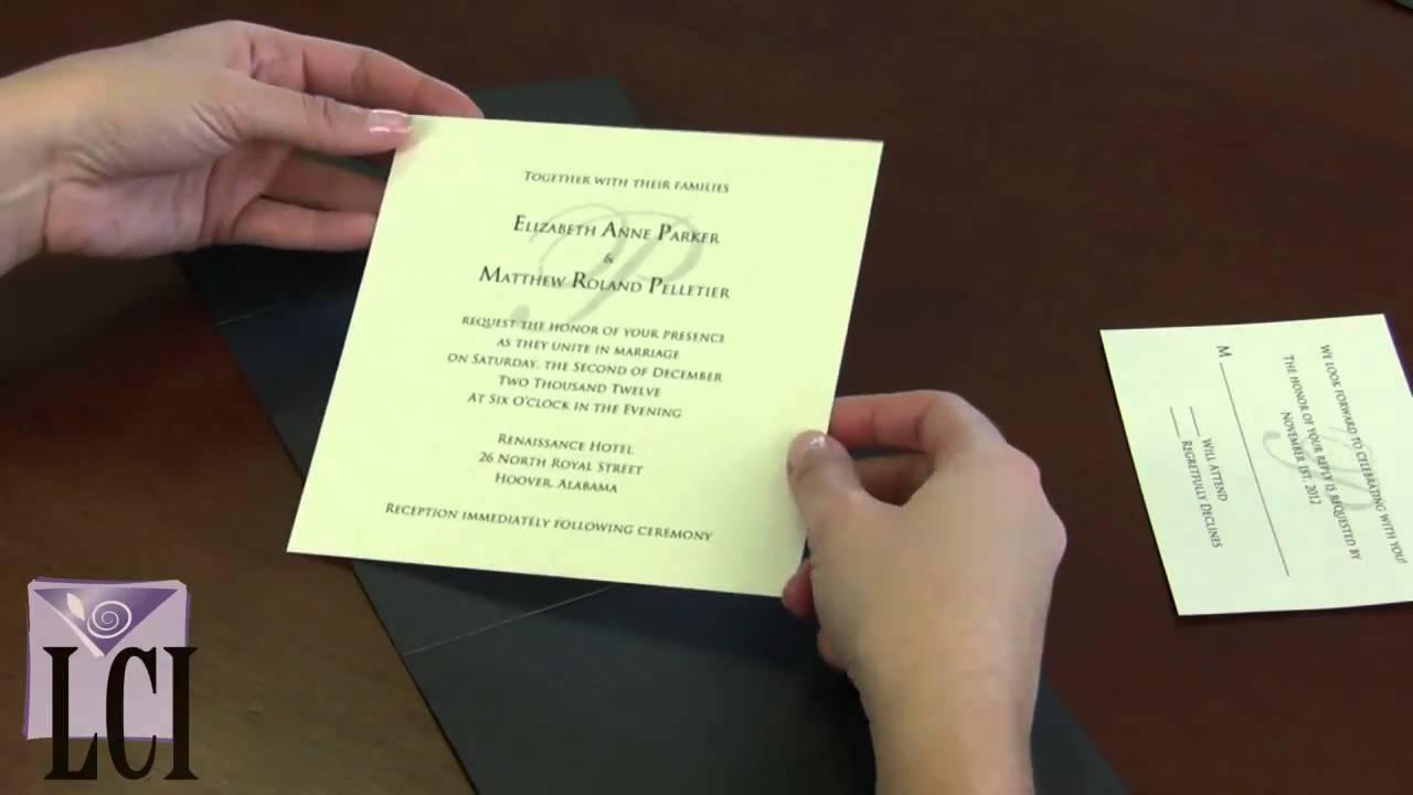 pocket folds how to assemble pocket fold invitations youtube
