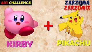ART CHALLENGE HOW TO DRAW KIRBY PIKACHU STEP BY STEP