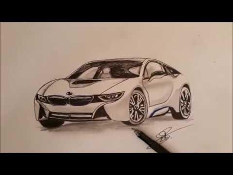 Drawing My Dream Car Bmw I8 Pen Drawing Youtube