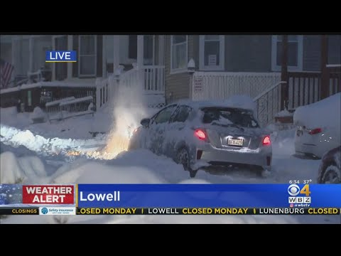 Treacherous Driving In Lowell After Overnight Snow Storm
