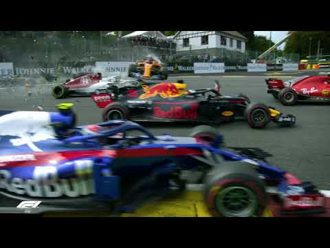 2018 Belgian Grand Prix    First-Turn Crash - All The Angles