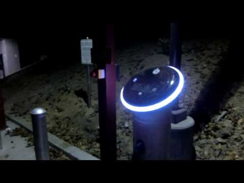New GE EV charging stations at night at PARC - Palo Alto Research Center