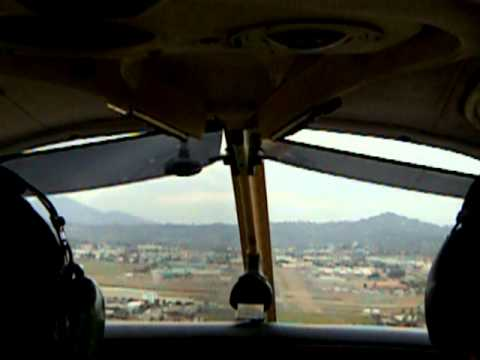 Piper Cherokee flight lesson, approach and landing, overcast at KSEE, Gillespie Field, El Cajon, CA