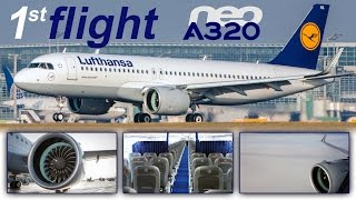 Top 10 Airlines - Lufthansa A320neo WORLD'S FIRST - massive engines & sounds of silence [AirClips full flight series]