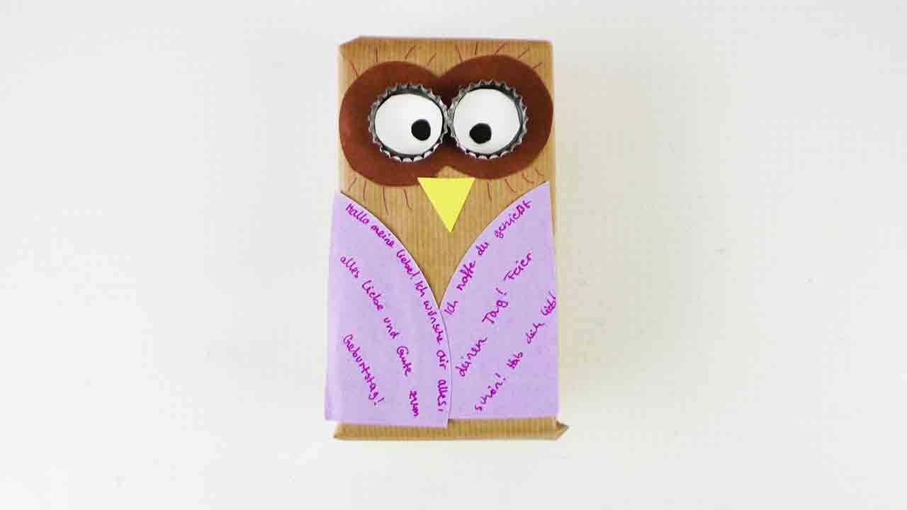 diy eule als geschenk zum geburstag originell verpackte berraschung mit einer eule diy owl. Black Bedroom Furniture Sets. Home Design Ideas