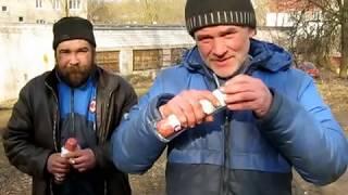 На что готов мужик ради 500 р. Саня Чемпион и Борода кто быстрей сьест палку колбасы и аджику!!!