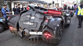 CRAZY BATMOBILE on Gumball3000 with Lamborghini engine revving!!