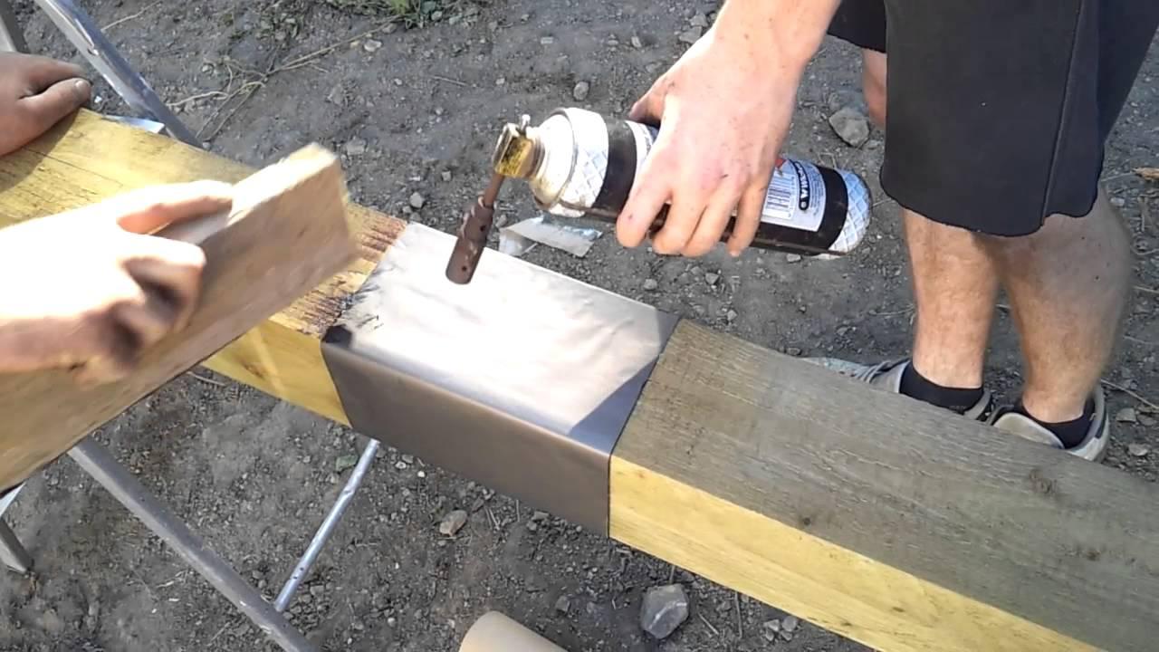 DIY post saver sleeve protector using self adhesive flashing