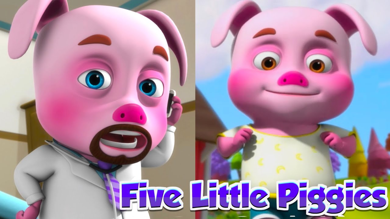 Five Little Piggies Sitting On A Wall And More Nursery Rhymes & Kids Songs   Cartoon Animation