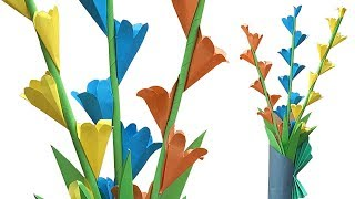 How to Make Decorative Paper Flower Stick with flower pot - Paper Crafts - কাগজের ফুল বানানো