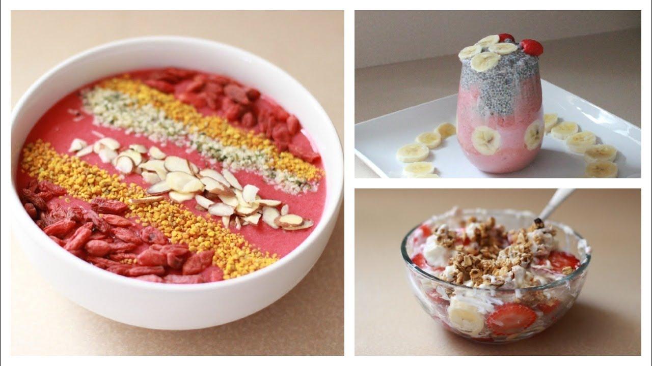 Tres desayunos saludables♡ - YouTube