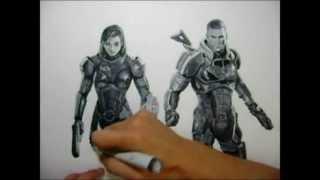 Mass Effect 3 drawing:  Commander Shepard
