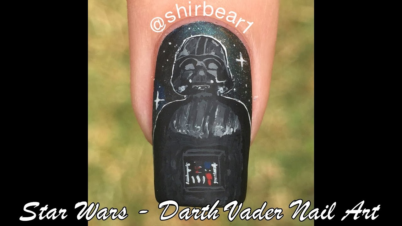 Star Wars - Darth Vader Nail Art Tutorial - YouTube