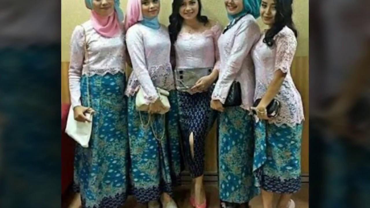 15 Model Baju Muslim Kebaya Modern Kombinasi Brokat Untuk Pakaian Seragam Pernikahan