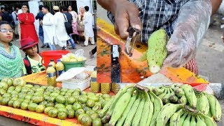 Best food Green Banana Recipe Fresh & Awesome Kacha kola vorta @ 30 Rs Yummy food spicy mix banana