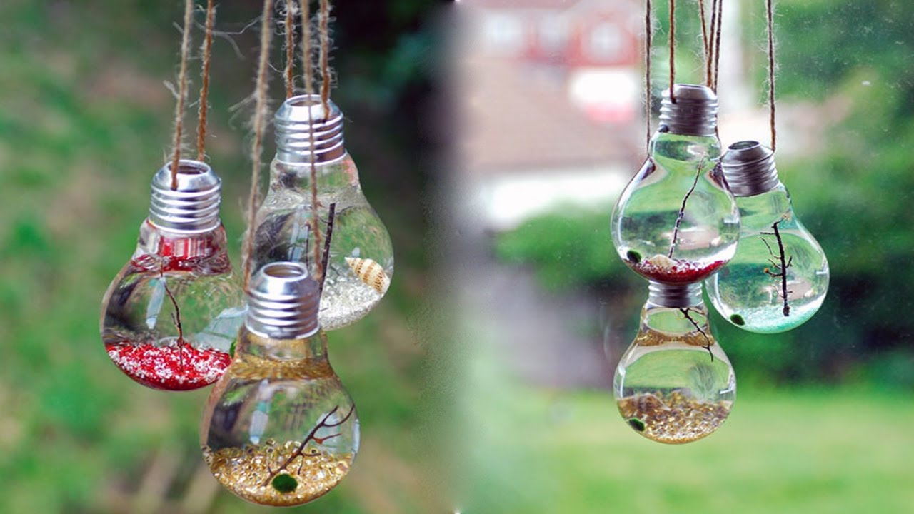 Neat Crafts You Can Make By Using Old Light Bulbs - YouTube
