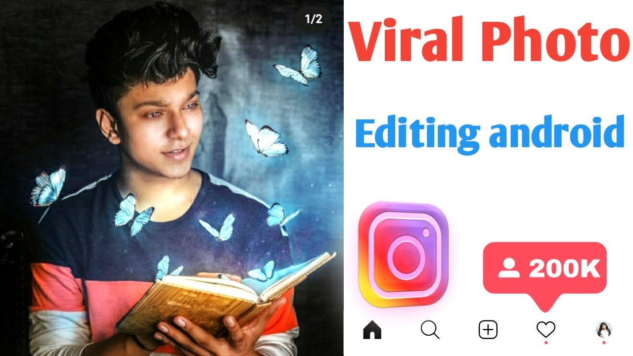 Instagram New Viral Glow butterfly Photo Editing | Increase followers on instagram